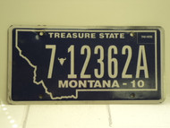 2010 MONTANA Treasure State License Plate 7 12362A