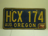1976 OREGON License Plate HCX 174
