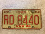 1995 Dec APP TLR Iowa RD 8440 License Plate