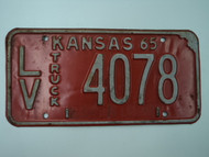 1965 KANSAS Truck License Plate LV 4078