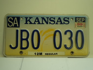 1999 KANSAS Truck 12M regular License Plate JB0 030