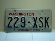 Washington Evergreen State License Plate 229 XSK