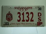 2010 MISSISSIPPI Delta Sigma Theta Sorority License Plate 3132 DS