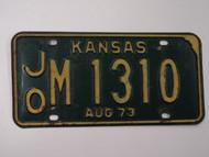 1973 KANSAS License Plate JO M 1310