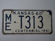 1960 KANSAS 1961 Centennial Truck License Plate ME T313