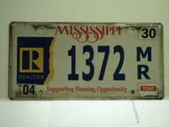 MISSISSIPPI Realtor Support License Plate 1372 MR