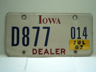 2007 IOWA Dealer License Plate  D877 014