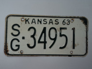 1963 KANSAS License Plate SG 34951