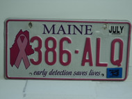 2013 MAINE Pink Ribbon Cancer Early Detection License Plate 386 ALQ