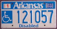 Arkansas Wheelchair 2003 License Plate