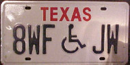 Texas 8WFJW Wheelchair Handicapped License Plate