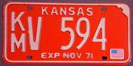 1971 Kingman Co Kansas KM V 594 License Plate