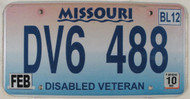 2010 Missouri Disabled Veteran License Plate