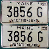 PAIR 1988 Maine 3856G Vacationland License Plate