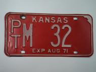 1971 KANSAS License Plate PT M 32