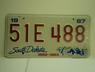1987 SOUTH DAKOTA Centennial 1889 1989 License Plate 51E 488 1