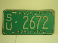 1970 KANSAS Midway USA License Plate SU 2672