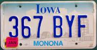 Jan Monona Co Iowa 367 BYF Embossed License Plate