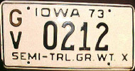 1973 Iowa GV Semi-Trailer License Plate