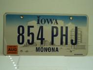 2006 IOWA License Plate 854 PHJ