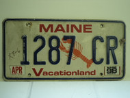1998 MAINE Lobster Vacationland License Plate 1287 CR