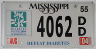 2004 Aug Mississippi Defeat Diabetes License Plate