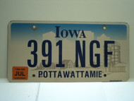 2006 IOWA License Plate 391 NGF
