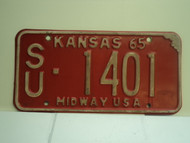 1965 KANSAS Midway USA License Plate SU 1401