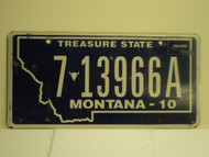 2010 MONTANA Treasure State License Plate 7 13966A