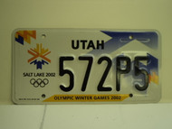UTAH Salt Lake City Winter Olympics 2002 License Plate 572P5 1
