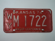 1974 KANSAS Wheat Centennial License Plate WY M 1722