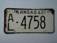 1963 KANSAS License Plate AL 4758