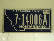 2010 2011 MONTANA Treasure State License Plate 7 14006A