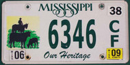 2009 Mississippi Our Heritage License Plate