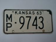 1963 KANSAS License Plate MP 9743