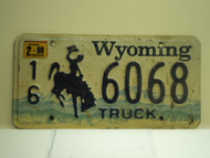 2000 Wyoming Truck License Plate 16 6068