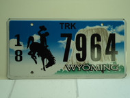 WYOMING Bucking Bronco Devils Tower Truck License Plate 18 7964