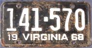 1968 Virginia 141-570 License Plate