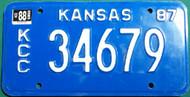 1987 1988 KCC Kansas License Plate 34679