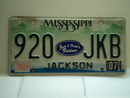 2007 MISSISSIPPI Magnolia License Plate 920 JKB