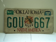 1998 OKLAHOMA Native America License Plate GOU 667
