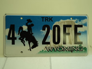WYOMING Bucking Bronco Devils Tower Truck License Plate 4 20FE
