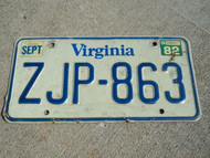 1982 VIRGINIA License Plate ZJP 863