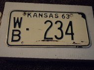 1963 KANSAS License Plate WB 234