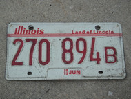 1985 ILLINOIS Truck Land Of Lincoln License Plate 270 894B