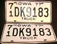 1977 Iowa 71 O'Brien License Plate PAIR
