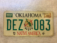 2000 Mar Oklahoma Native America License Plate DEZ 083