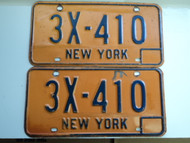 PAIR NEW YORK License Plates 3X 410