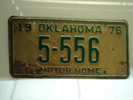 1976 OKLAHOMA Motor home License Plate 5 556