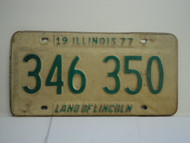 1977 ILLINOIS Land of Lincoln License Plate 346 350